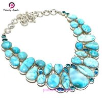 Turquoise Fancy Shape Gemstone 925 Silver Jungle Necklace Jewelry
