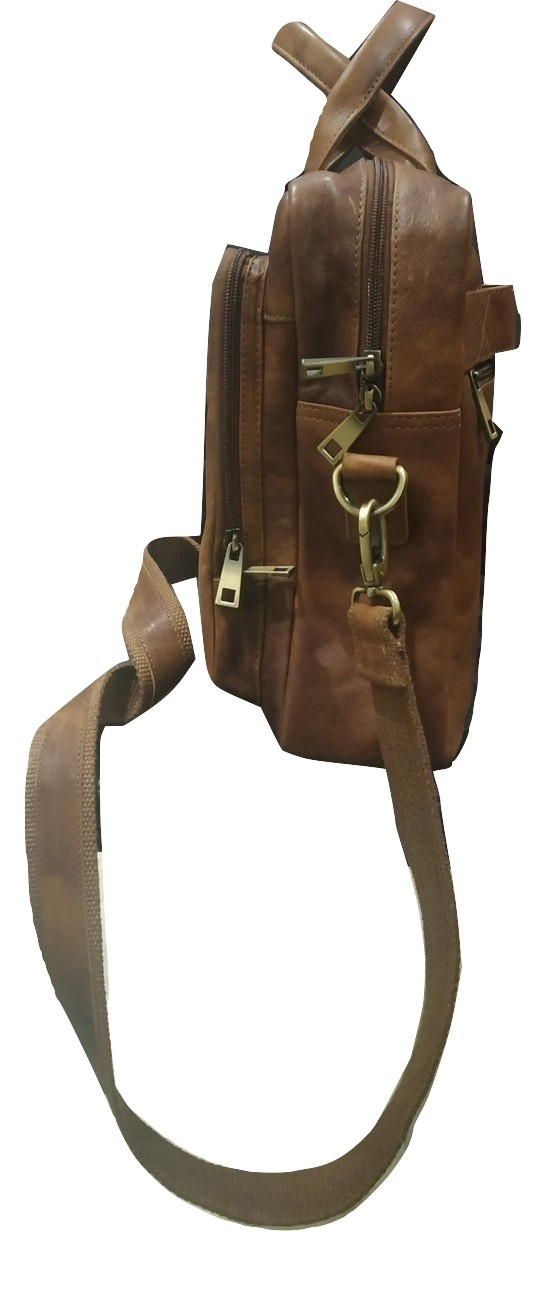 Brown Leather Briefcase Laptop Bag