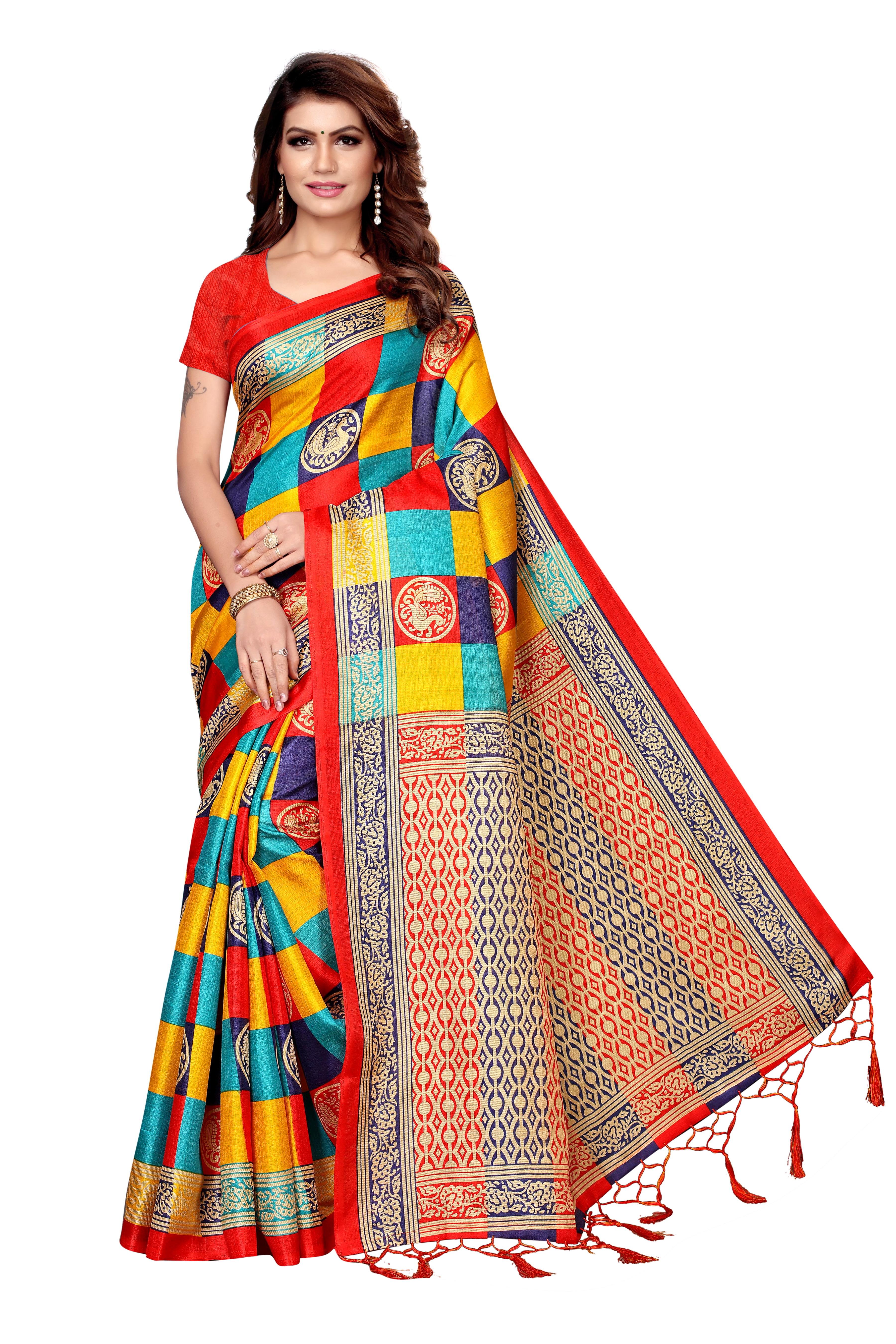 Fancy Cotton silk check saree