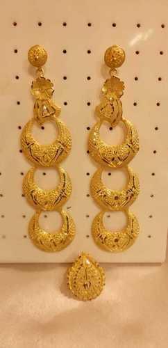 Traditional Wear Golden Earrings