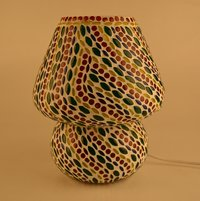 Decent Glass Handcrafted Crystal Decorated Floral Design Glass Table Lamp (Multicolored) Big Lamp
