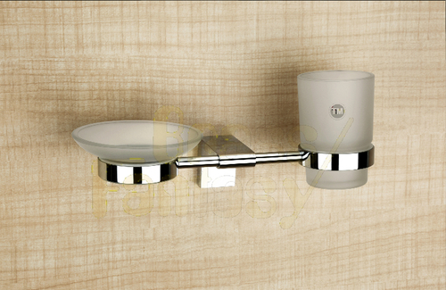 Brass Glass Soap Dish and Tumbler Holder