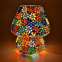 Decent Glass Handcrafted Crystal Decorated Floral Design Glass Table Lamp (Multicolored)