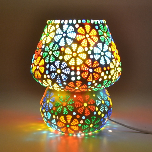 Decent Glass Mosaic lamp for Home Decor Bed Side Lamp Exclusive Make in India Mushroom Shaped Glass Leafs Design Table lamp with Multicolour Mosaic Handwork Table lamp