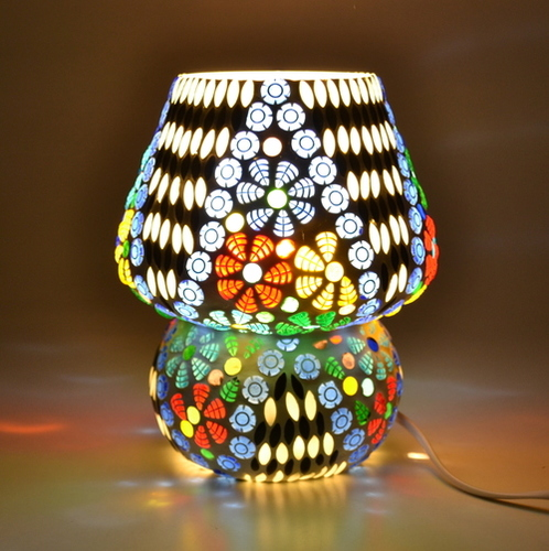 Decent Glass Home Decor Light Glass Handicraft Mosaic Work Table Light Lamp Multi Color Beads with Beautiful Color Combination (17 cm, Multicolor)