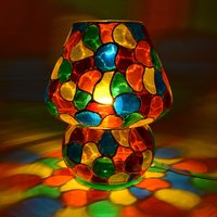 Decent Glass Multi Color Hand Painted Table Lamp (24 cm, Multicolor)