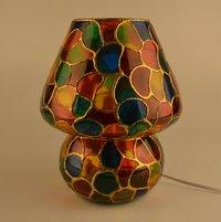 Decent Glass Multi Color Hand Painted Table Lamp (24 cm, Multicolor)
