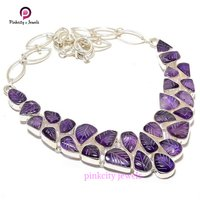 Beautiful Natural Amethyst Carving Gemstone 925 Silver Necklaces Jewelry
