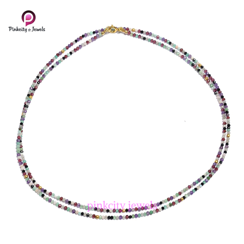 Natural Faceted Multi 2 mm Gemstone 925 Sterling Silver Beaded Necklace