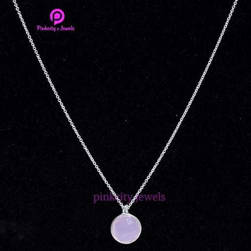 Pink Chalcedony 925 Silver Necklaces