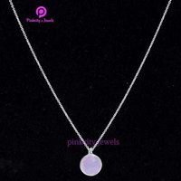 Pink Chalcedony Faceted Gemstone Round Chain Necklace 925 Sterling Silver Jewelry