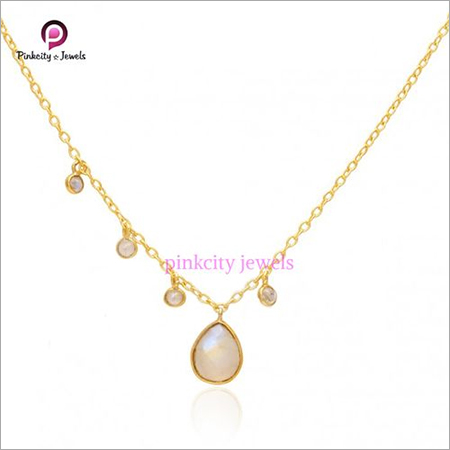 Rainbow Moonstone Gemstone 925 Sterling Silver Chain Gold Plated Necklace