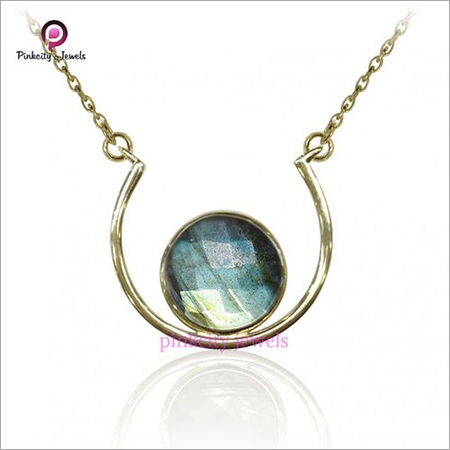 Natural Labradorite Faceted 925 Silver Necklace