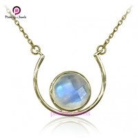 Natural Rainbow Moonstone Faceted 925 Sterling Silver Jewelry Necklace