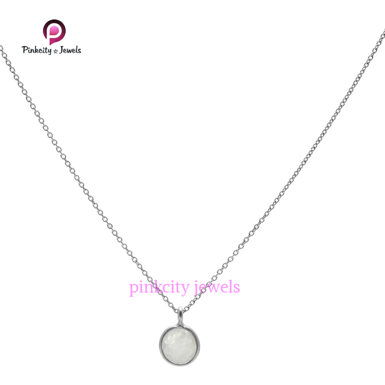 Rainbow Moonstone 925 Silver Chain Necklaces