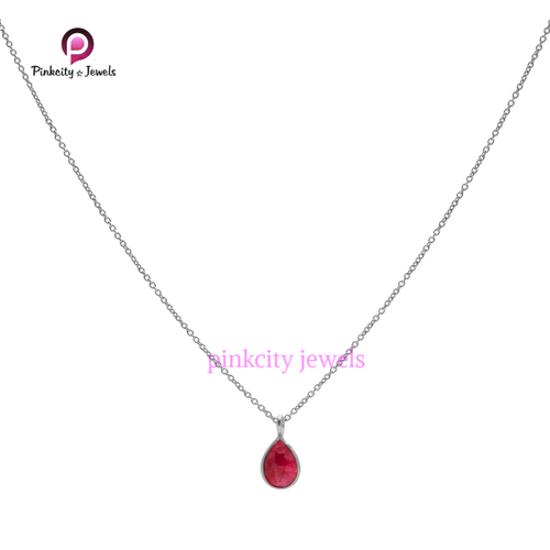 Ruby 925 Silver Chain Necklace