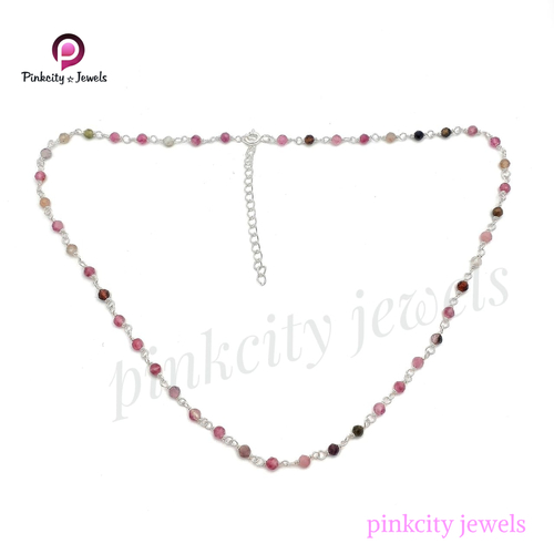 Natural Multi Tourmaline 925 Silver Necklace