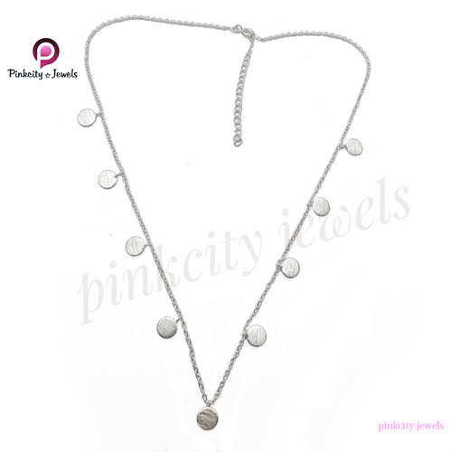 925 Sterling Silver scratch Round Disc Silver Necklace Jewelry