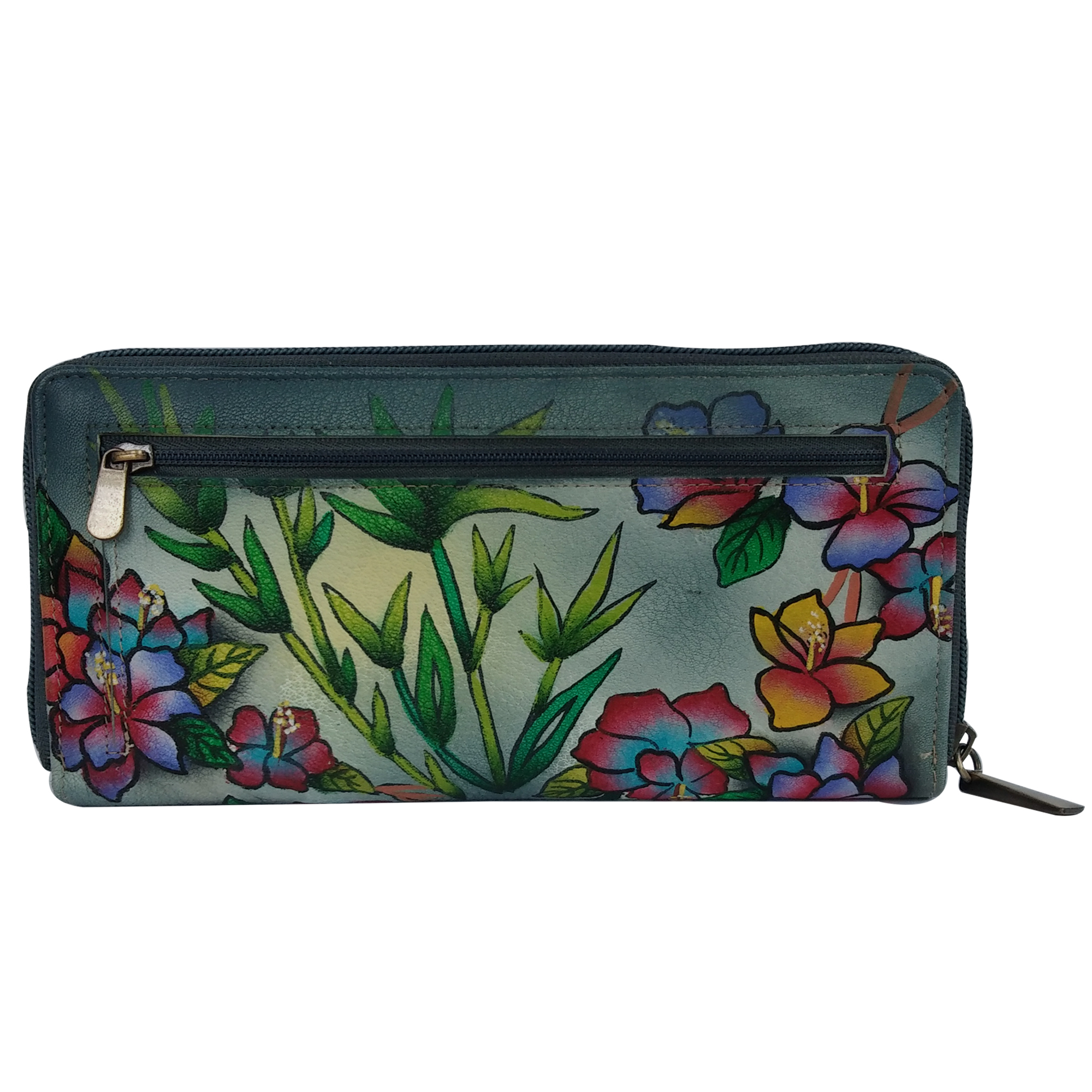 New Leather Hand Painted Zipper Wallet For Women
