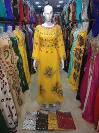 Yellow printed long kurtis