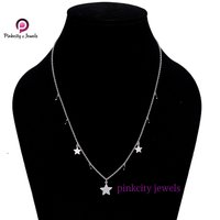 Natural Black Onyx Gemstone 925 Sterling Silver Chain with Star Necklace