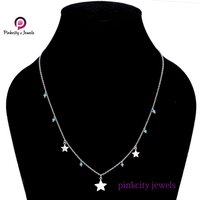Blue Chalcedony Gemstone 925 Sterling Silver Star Chain Necklace Jewelry