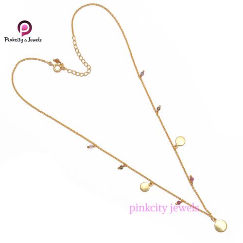 Multi Tourmaline 925 Silver Chain Necklace