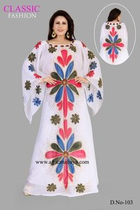 White embroidery printed dress