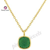 Natural Green Onyx Faceted Gemstone 925 Sterling Silver Chain Gold Plated Necklace