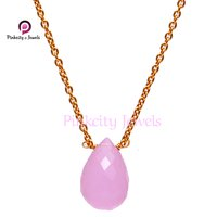 Faceted Drop Pink Chalcedony Gemstone  925 Sterling Silver Charm Pendant Necklace