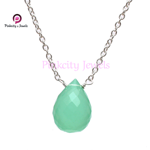 Aqua Chalcedony 925 Silver Necklace
