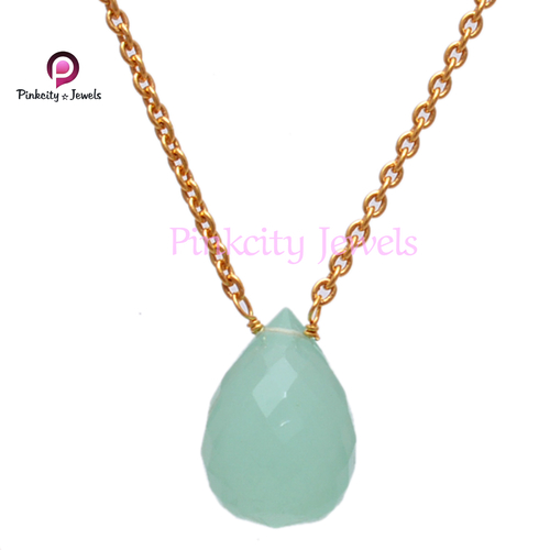 Blue Chalcedony  925 Silver Chain Necklace