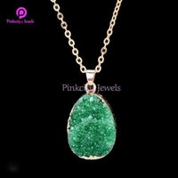 Hot Sale Green Druzy Gemstone 925 Sterling Silver Chain Pendent Necklace Jewelry