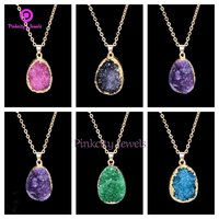Green Druzy 925 Silver Pendent Necklace
