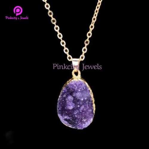 Purple Druzy  925 Silver Chain Necklace
