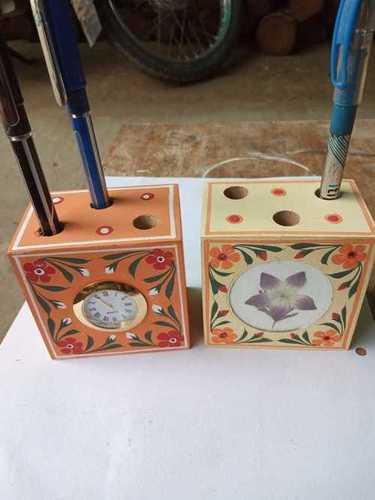 Wooden clock pen holder