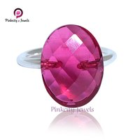 Beautiful Faceted Hot Pink Oval Shape Gemstone 925 Sterling Silver Ring