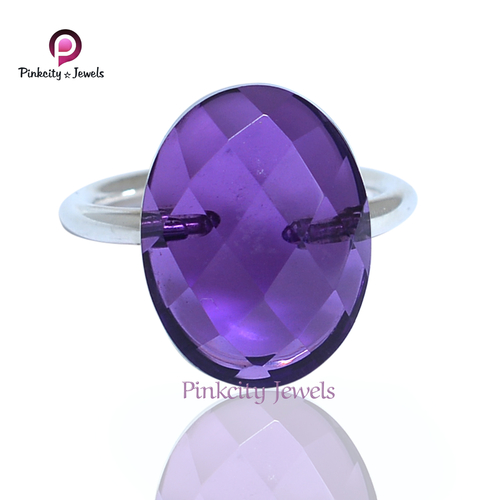 Beautiful Faceted Amethyst Gemstone 925 Sterling Silver Ring Jewelry