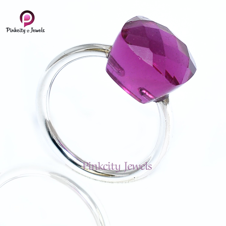 Hot Dark Pink 925 Ring Jewelry