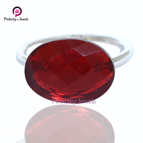 Ruby Faceted 925 Silver Ring Jewelry