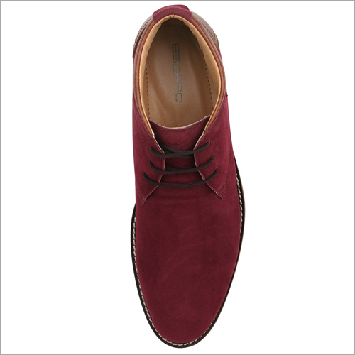 Mens Maroon Casual Synthetic Suede Chukka Boots