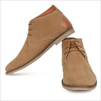 Mens Beige Casual Synthetic Suede Chukka Boots