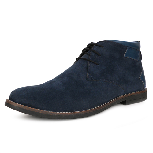 Mens Blue Casual Synthetic Suede Chukka Boots