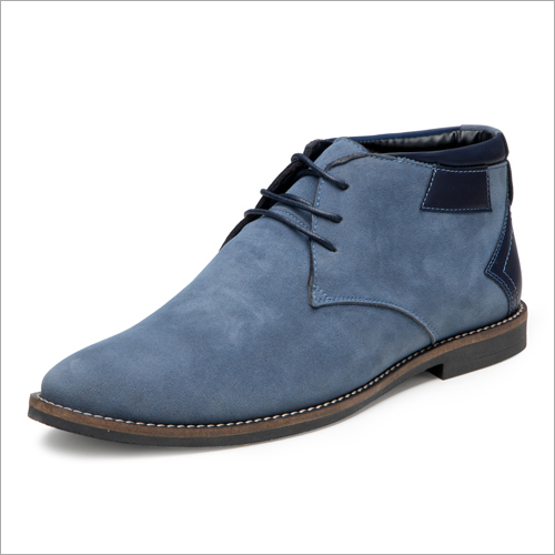 Mens Sky Blue Synthetic Suede Casual Lace Up Chukka Boots