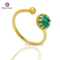 Natural Green Onyx Faceted 6 mm Round Gemstone 925 Sterling Silver Adjustable Ring