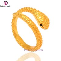 Gold Plated Snake 925 Silver Rings Jewelry