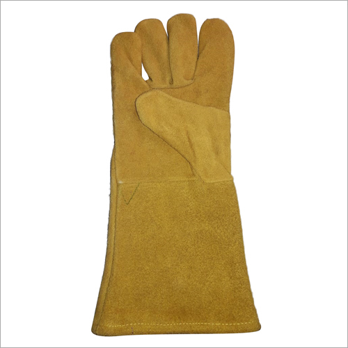 Yellow Winter Leather Hand Gloves