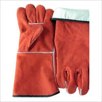 Red Color Winter Leather Hand Gloves