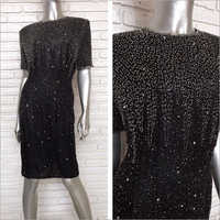 Ladies Black Sequin One Piece Dress