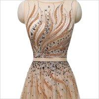Ladies Designer Beaded Neck Gown